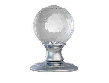 AC020 Ice Facetted Crystal/ Polished Chrome