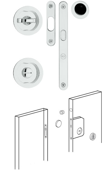 Sliding Door Locks Polished Chrome